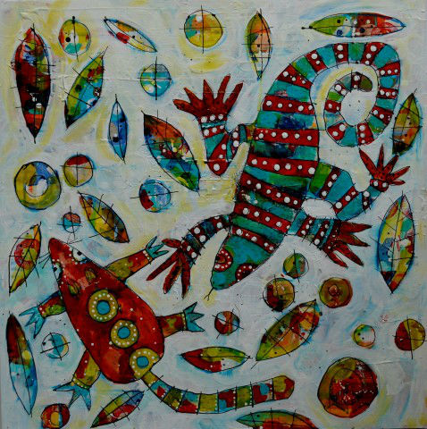 Reptiles_in_the_Bark_Series_The_Goanna_and_the_Mouse_Acryli_and_indian_ink_on_wood_panel_50_x_50_cm_Small