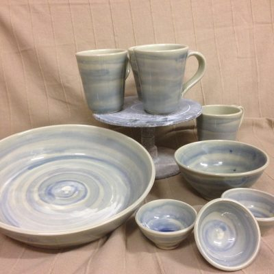 Celedon plates, mugs & bowls